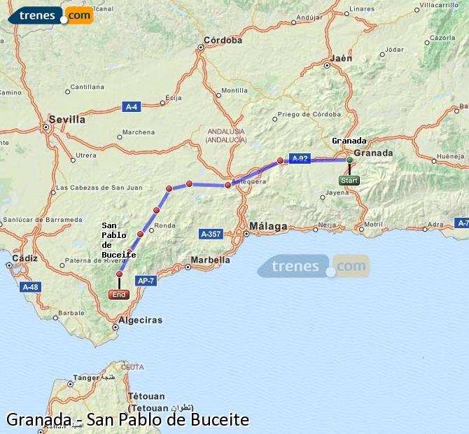 Karte vergrößern Züge Granada San Pablo de Buceite