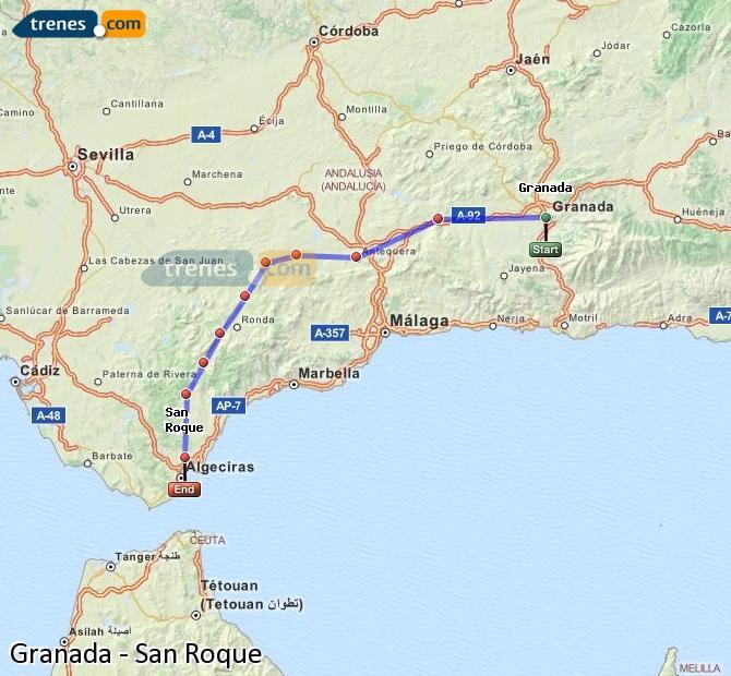 Karte vergrößern Züge Granada San Roque