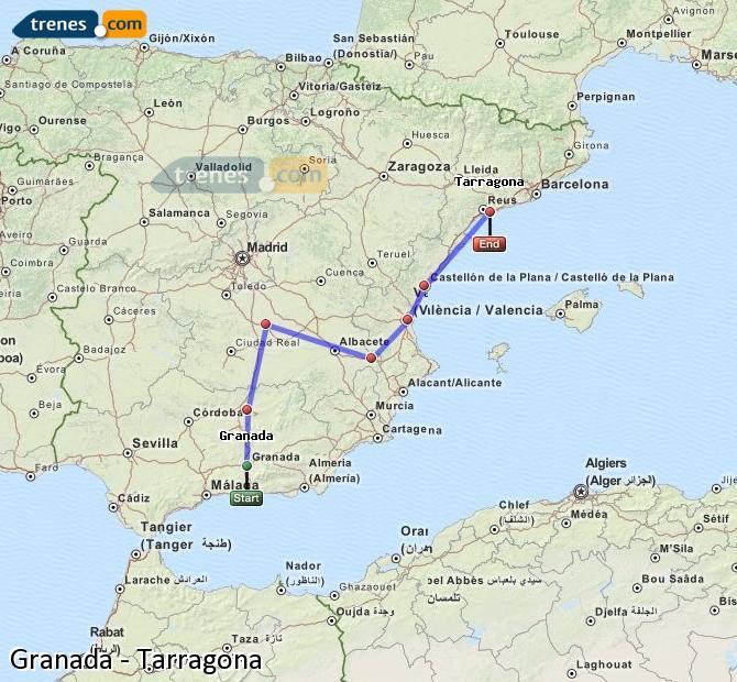 Ingrandisci la mappa Treni Granada Tarragona