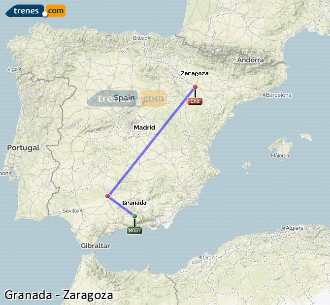 Ampliar mapa Trenes Granada Zaragoza