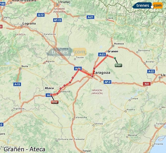Ingrandisci la mappa Treni Grañén Ateca