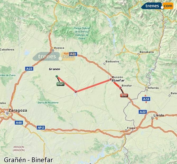 Ingrandisci la mappa Treni Grañén Binefar