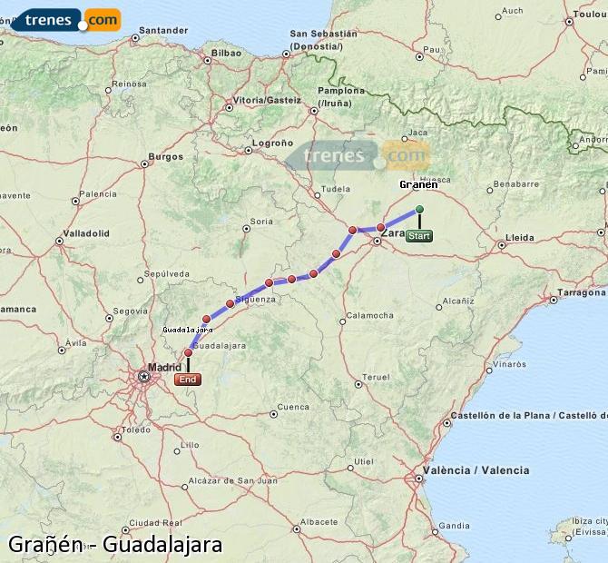 Agrandir la carte Trains Grañén Guadalajara