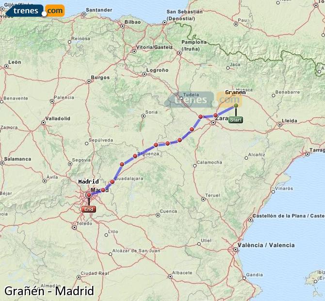 Karte vergrößern Züge Grañén Madrid