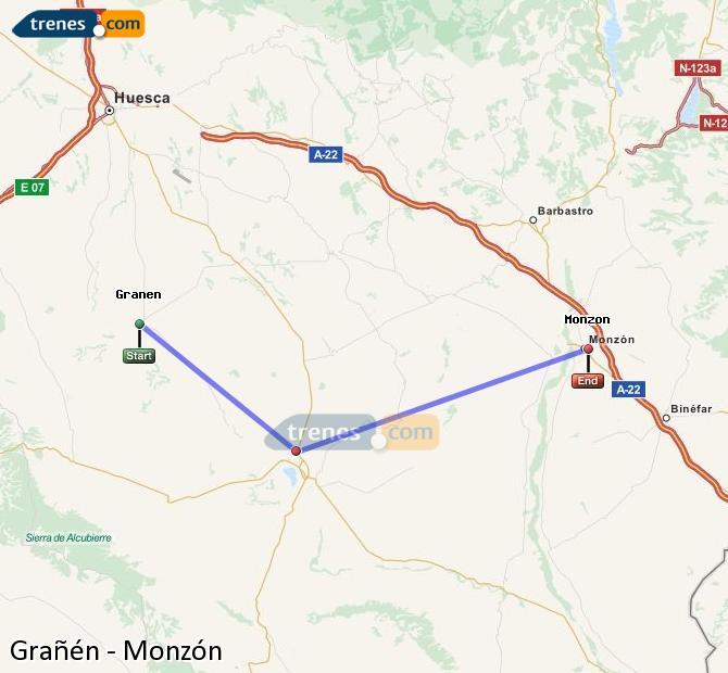 Enlarge map Trains Grañén to Monzón