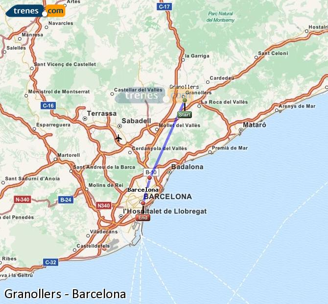 Karte vergrößern Züge Granollers Barcelona