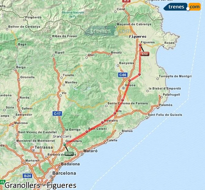 Enlarge map Trains Granollers to Figueres