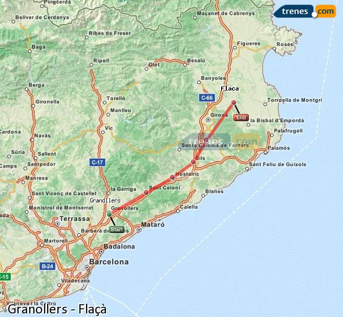 Enlarge map Trains Granollers to Flaçà