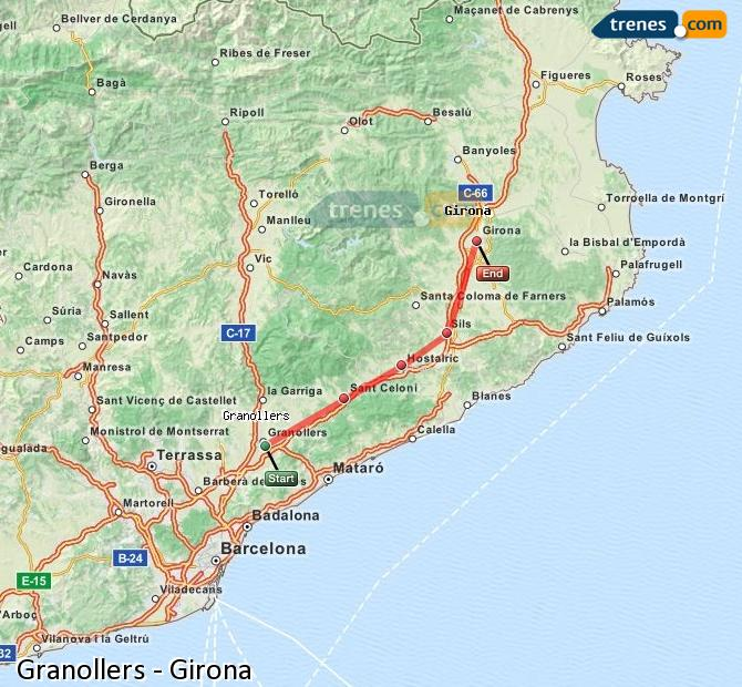 Ingrandisci la mappa Treni Granollers Girona