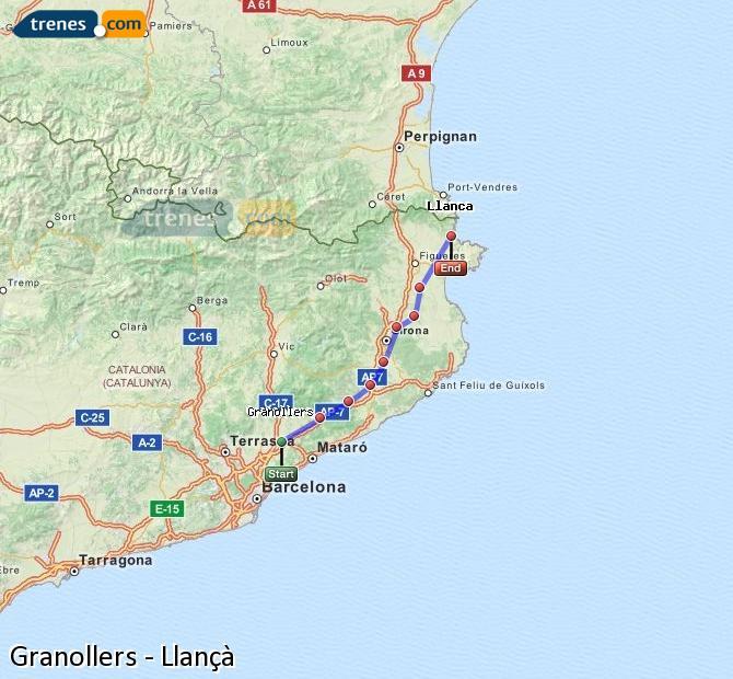 Ingrandisci la mappa Treni Granollers Llançà
