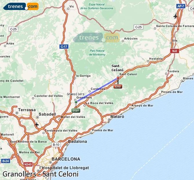 Ingrandisci la mappa Treni Granollers Sant Celoni