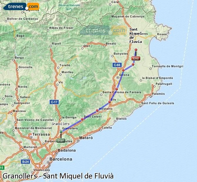 Karte vergrößern Züge Granollers Sant Miquel de Fluvià