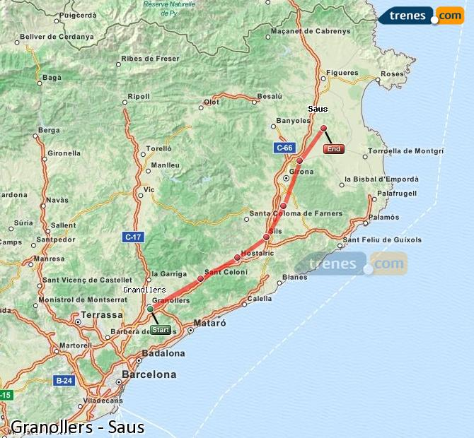 Enlarge map Trains Granollers to Saus