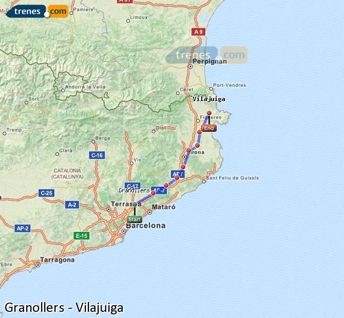 Agrandir la carte Trains Granollers Vilajuiga