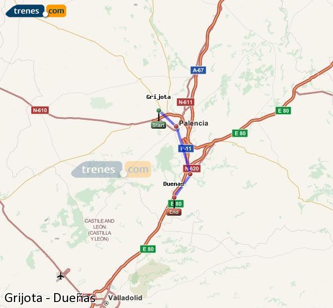 Ampliar mapa Trenes Grijota Dueñas