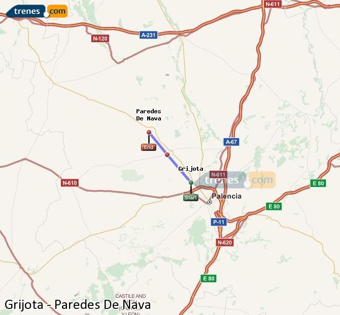 Ingrandisci la mappa Treni Grijota Paredes De Nava