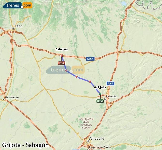Ingrandisci la mappa Treni Grijota Sahagún