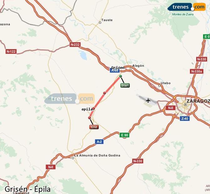 Karte vergrößern Züge Grisén Épila
