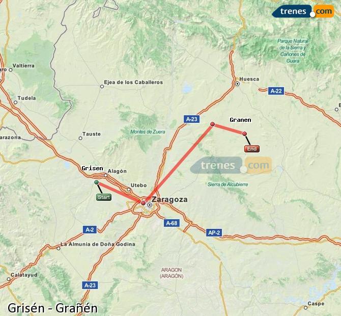 Ingrandisci la mappa Treni Grisén Grañén