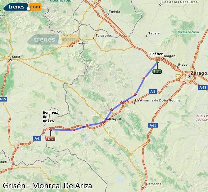 Karte vergrößern Züge Grisén Monreal De Ariza