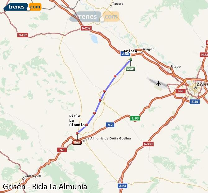 Karte vergrößern Züge Grisén Ricla La Almunia