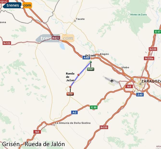 Ampliar mapa Comboios Grisén Rueda de Jalón