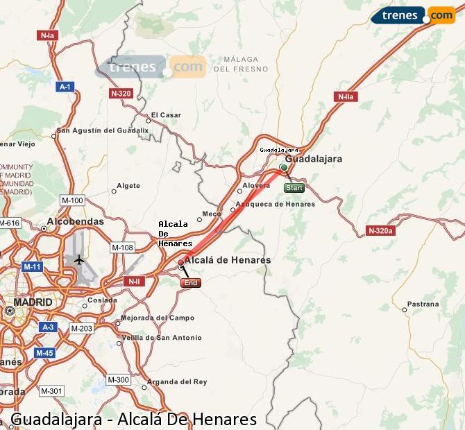 Enlarge map Trains Guadalajara to Alcalá De Henares