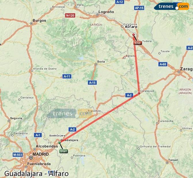 Enlarge map Trains Guadalajara to Alfaro