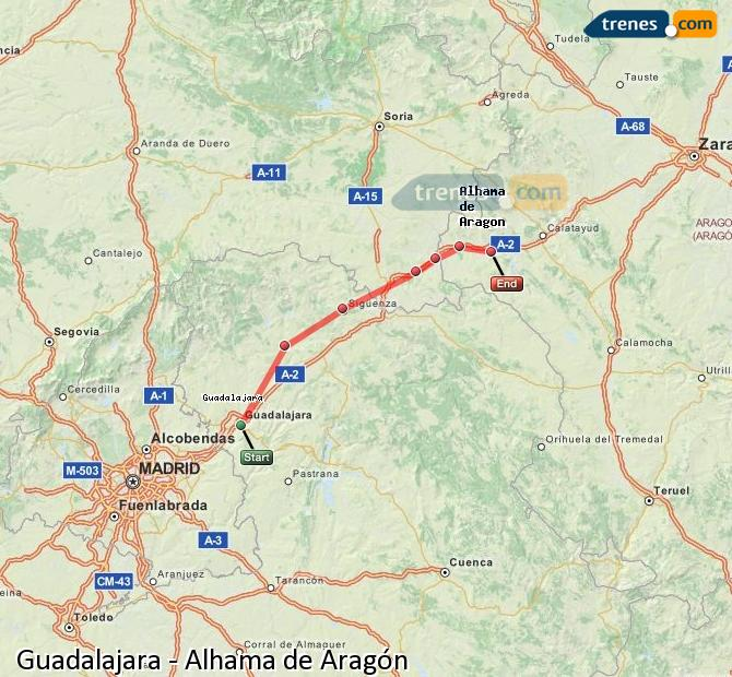 Agrandir la carte Trains Guadalajara Alhama de Aragón