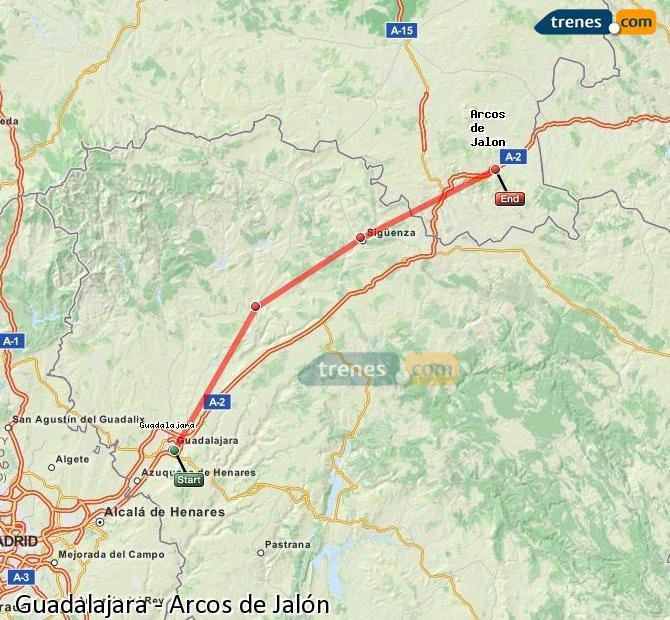 Agrandir la carte Trains Guadalajara Arcos de Jalón