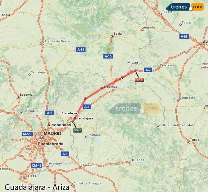 Ampliar mapa Comboios Guadalajara Ariza