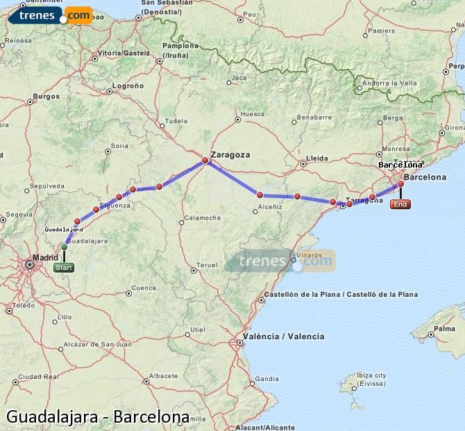 Agrandir la carte Trains Guadalajara Barcelone