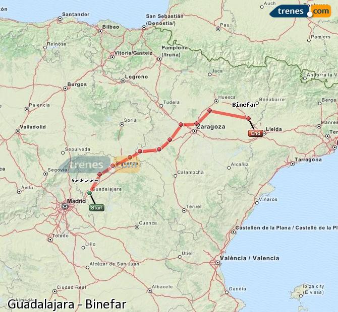 Agrandir la carte Trains Guadalajara Binefar