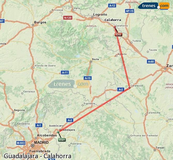 Ingrandisci la mappa Treni Guadalajara Calahorra