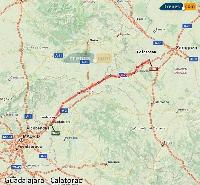 Karte vergrößern Züge Guadalajara Calatorao
