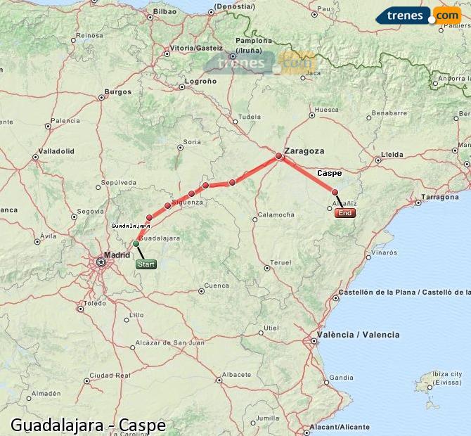 Ingrandisci la mappa Treni Guadalajara Caspe
