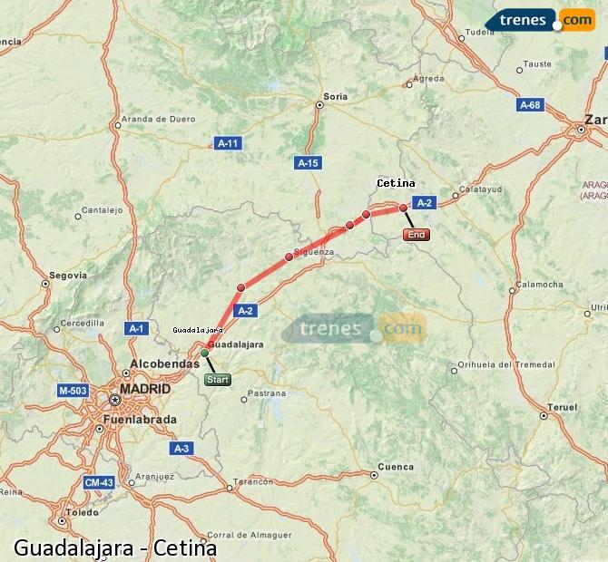 Agrandir la carte Trains Guadalajara Cetina