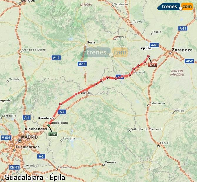 Agrandir la carte Trains Guadalajara Épila