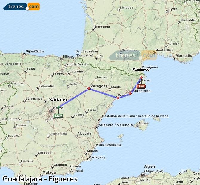 Ingrandisci la mappa Treni Guadalajara Figueres