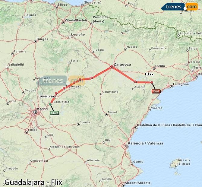 Karte vergrößern Züge Guadalajara Flix