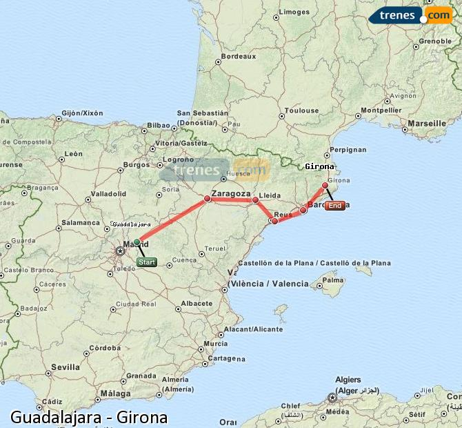 Enlarge map Trains Guadalajara to Girona
