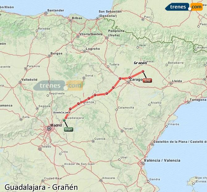 Agrandir la carte Trains Guadalajara Grañén
