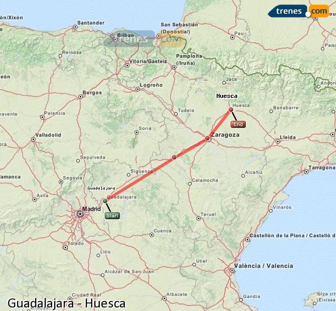 Ampliar mapa Trenes Guadalajara Huesca