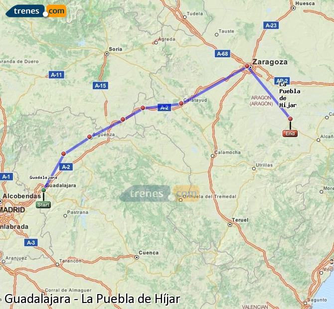 Enlarge map Trains Guadalajara to La Puebla de Híjar