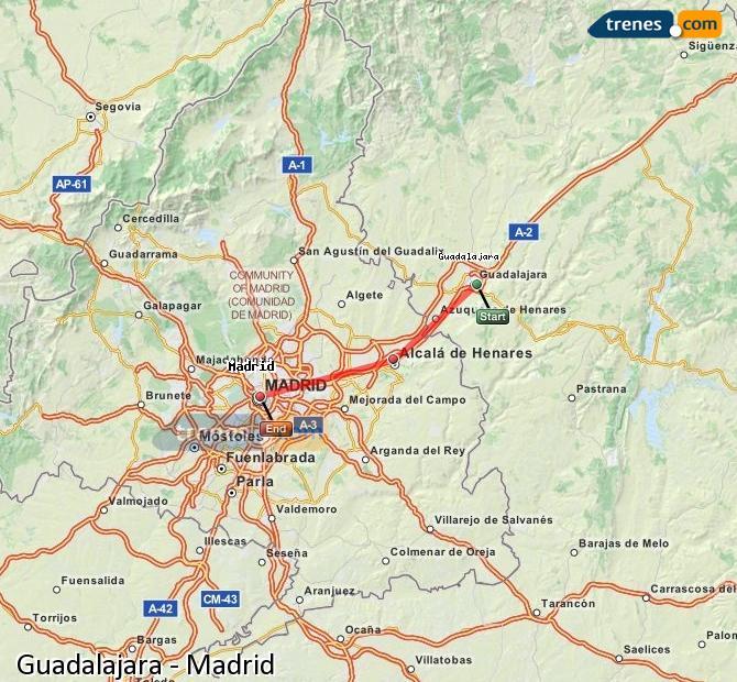 Karte vergrößern Züge Guadalajara Madrid