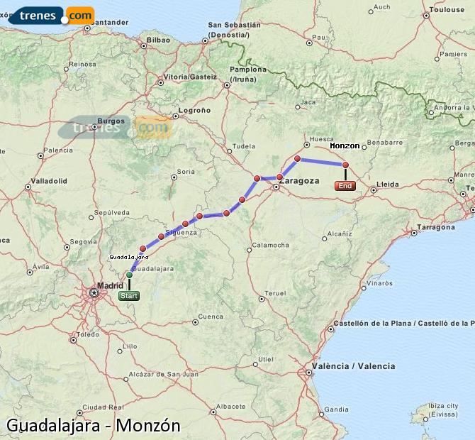 Agrandir la carte Trains Guadalajara Monzón