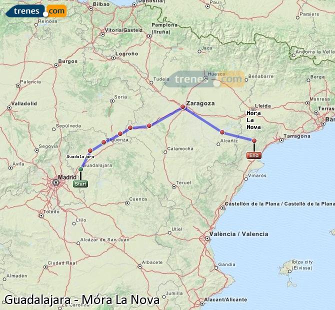 Karte vergrößern Züge Guadalajara Móra La Nova