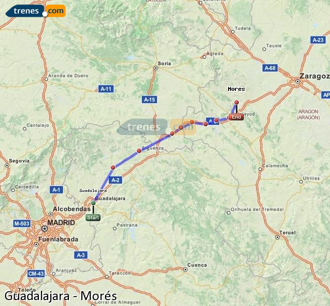 Ampliar mapa Trenes Guadalajara Morés