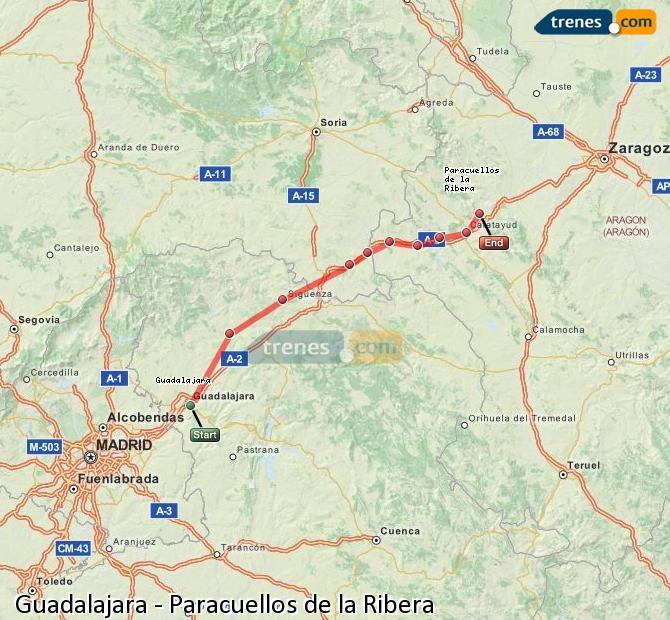 Ampliar mapa Comboios Guadalajara Paracuellos de la Ribera