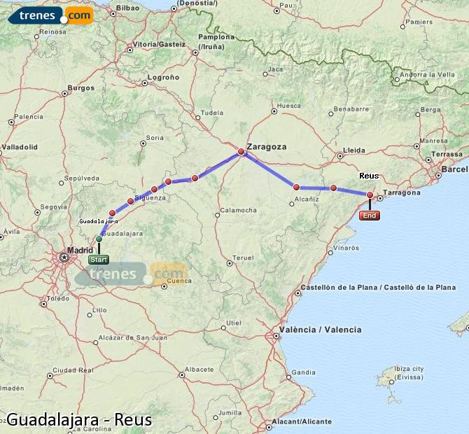 Agrandir la carte Trains Guadalajara Reus